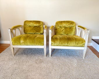 Mid Century Hollywood Regency Pair of Green Tufted Side Chairs