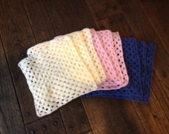 """12""""x12"""" Baby lap blankets in large granny square"""