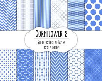 Cornflower Blue 2 Digital Scrapbook Paper 12x12 Pack - Set of 12 - Polka Dots, Chevron, Hexagon - Instant Download - Item#8077