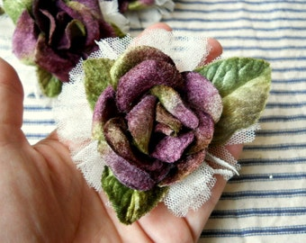 Plum wine velvet rose and lace pin brooch home decor accessory Shabby romantic Millinery flower