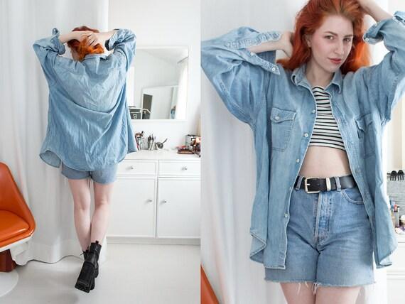 Vintage Marc O'Polo 90s 80s Jeans Denim Shirt Jacket L Soft Grunge Unisex Oversized Acid Stone Wash Supermodel Boyfriend Indie Punk Rock frEfcn