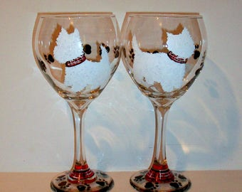 White West Highland Terrier With Plaid Collars Silhouette Set of 2 - 21 oz. Red Wine Glasses Goblets Hand Painted Wine Glassware Westie Gift