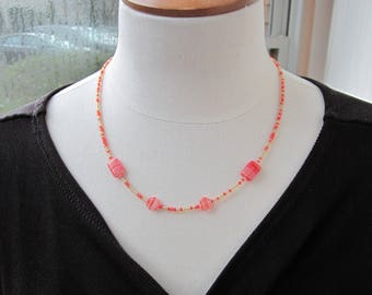 Peach Necklace - Seed Bead Necklace - Pink Jewelry - Delicate Necklace - Gift For Her - Anniversary Gift - Birthday Gift for Her