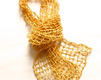 Yellow Cotton Knotted Scarf Macrame Scarf