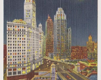 Vintage Linen Postcard,  124-Wrigley Buildings and River by Night, Chicago, Vintage Postcard, Ephemera