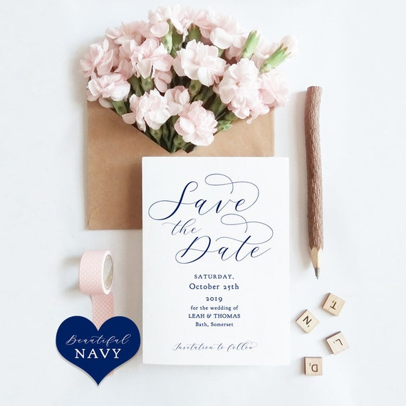 """Navy Save the Date Cards, Printable Template, Blue Save the Date Cards, Navy Blue Wedding, """"Beautiful"""" Edit in WORD or PAGES"""