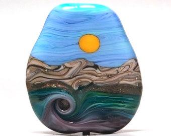 Sunny Coast - Handmade Lampwork Glass Bead Focal Pendant - SRA