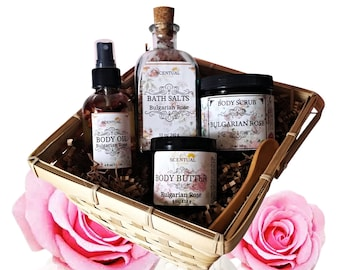 ORGANIC ROSE GIFT Basket, Organic Spa Set, Beauty Gift Set, Bath & Body Gift, Holiday Gift Basket, Gifts for Her, Birthday Gift Basket