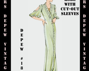 Vintage Sewing Pattern 1930s French Robe Pegnoir with Cutout Sleeves in Any Size- PLUS Size Included- Depew 186 -INSTANT DOWNLOAD-