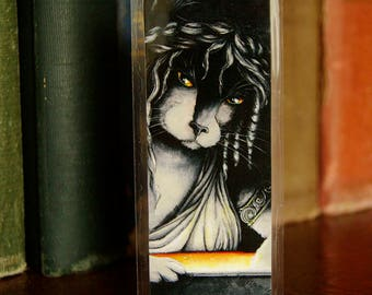 Pandora Cat Bookmark, Greek Mythology Pandora Box Fantasy Cat Art Bookmark