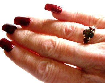 "Goshenite, goshenite accent ring, 3 stone ring, anniversary ring, Christmas,  red green, s 6 1/2   ""Dancing with Christmas"""