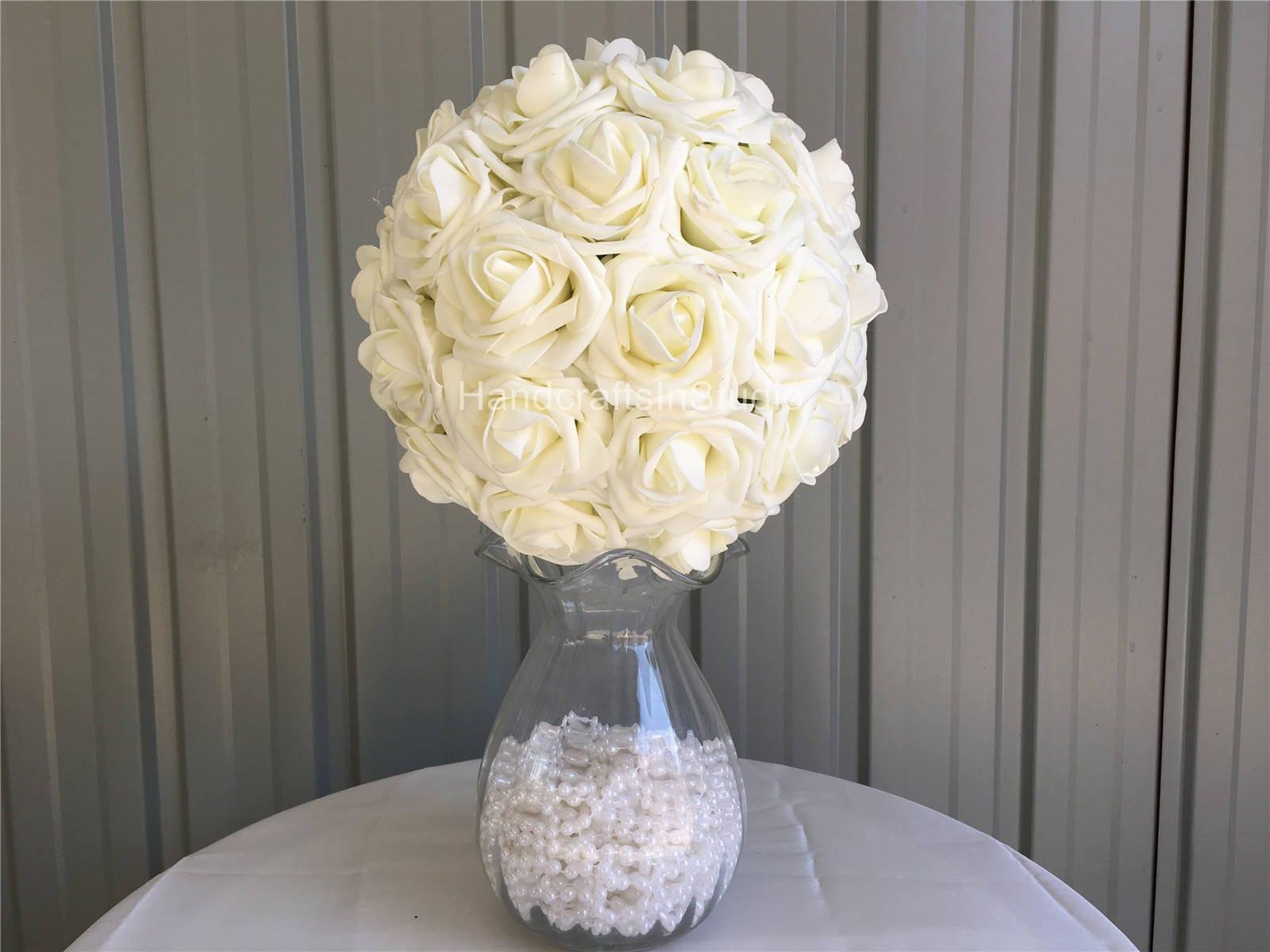 Ivory Kissing Ball Flower Ball Flower Girl Pomander For Cream