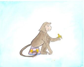 Circus monkey watercolor nursery art