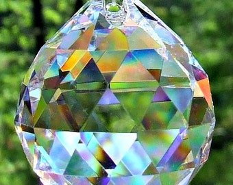 3 Asfour 30mm Full Lead Faceted Crystal Prism Ball, Sun Catcher, Feng Shui Crystal Prism Balls, Wedding Décor, Christmas ornaments