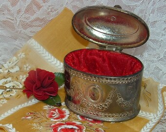 Vintage Silver Plated Trinket , Jewelry, Casket Box with Swags,Birds, and Butterfly design Red Lining