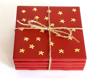 Christmas Coasters - Holiday Coasters - Painted Ceramic Coasters - Red & Gold Star Coasters - Hostess Gift - Valentine's Day Gift - Set of 4