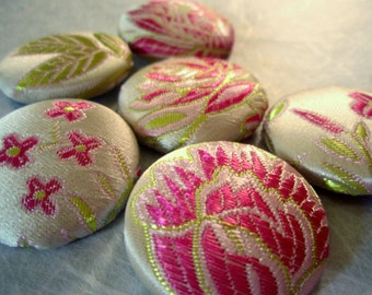 Buttons - Satin Brocade Fabric-covered Buttons - White and Pink Lotus Flower Covered Buttons