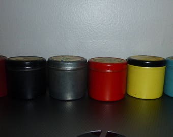 "Charming set of 6 multi colored 1950s 1.5"" tin film canisters - great storage items were originally used to hold film strips"