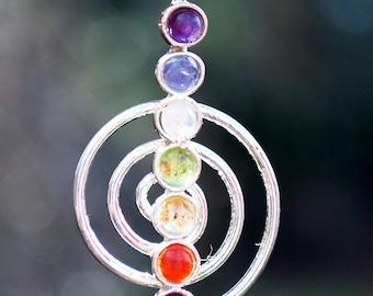 Metal Reiki Symbol Pendant with Chakra Gem Stones & Silver Chain