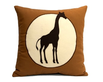 Giraffe pillow cover Victorian Style Shadow Silhouette on Eco Felt and Organic Cotton 18 inches