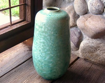 Studio Art Pottery Vase, Crystalline Glaze, Soft Green, Mid Century, Contemporary, Classic Style