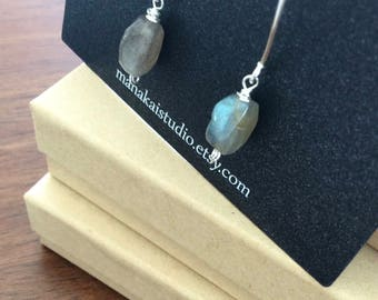The Source III- Labradorite and Stering Silver drop Earrings