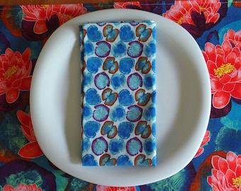 Blue Cotton Napkins with Lotus Leaf in Teal, Aqua, Purple, Orange, Lily Pads, Michael Miller Koi Garden, Housewarming Gift for Her, Set of 4