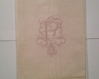 "Embroidered ""P"" Monogram Guest Towels with  Galucci Border"