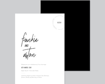 FRANKLY MY DEAR • Wedding Invitations • Ready to Post Printable Invitations • Minimalist, Modern, Black and White Elegant Typography