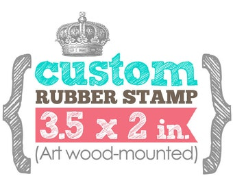 3.5 x 2 in - YOUR CUSTOM DESIGN - Business Card - Art Wood Mounted Rubber Stamp - For Logo, Branding, Packaging, Invitations, Party, Favors