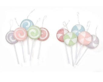 Lot of 10 Sugared Candy Lollipop Ornaments - 3.5""
