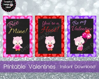 Owl Valentine Cards Instant Download