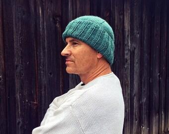 Men's green wool knit hat
