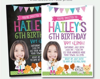 Puppies and Kitties Invitation with Photo, Pet adoption party, Vet Clinic Birthday Party, Personalized Digital Invitation, 2 Options