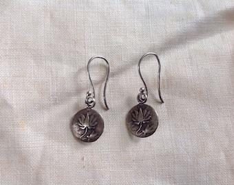 Satya Sterling Silver Lotus Earrings Sterling Cast Dangle Round Lotus Earrings Yoga Earrings