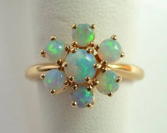 14k Genuine Opal Ring Yellow Gold Vintage Fine Jewelry Size 4.75 October Birthstone Ring from Treasures of Grace