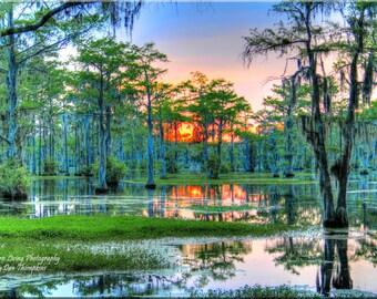 Pastel Colored Sunset, Page's Millpond, Millpond, Spanish Moss, South Carolina, Landscape Photography