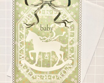 Greeting Card for a Baby with Rocking Horse