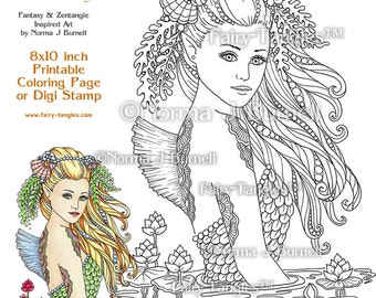 Water Sprite Mermaid - Fairy Tangles Printable Coloring book Sheets by Norma J Burnell Mermaids to color Digital Adult Coloring pages