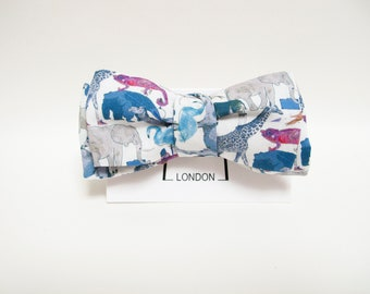 New Spring & Summer Accessories - Queue for the Zoo print freestyle thistle bow tie
