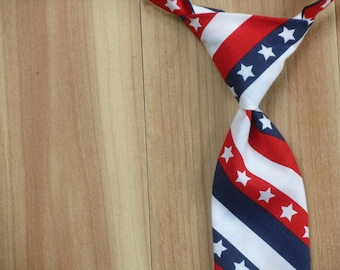 July 4th Patriotic Childrens Tie, Baby Accessory, Baby Neck Tie: Stars and Stripes Tie, America, Military Necktie for Boys