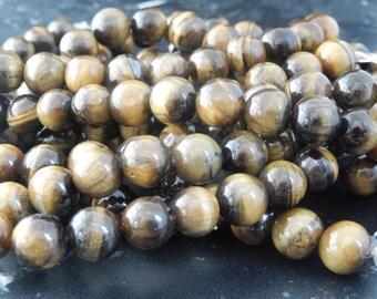 10 beads Tiger eye class AB 10 mm