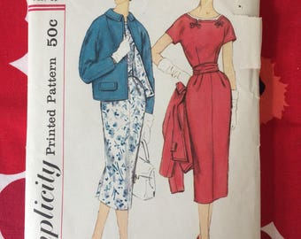 1950s 50s Pretty Day One Piece and Jacket Dress Original Vintage Sewing Pattern Simplicity 2387 Bust 36