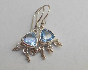 Nice Sky blue Topaz Gemstone Sterling Silver  dangle earrings / Silver 925/ Bali Handmade Jewelry, handmade earrings, silver earrings dangle