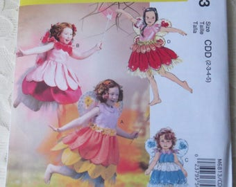 McCall's M6813 Sewing Pattern Fairy Costume with Wings Childrens Size CDD 2 - 5