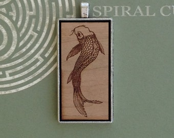 Koi Fish Design - Laser Engraved Wood Pendant Necklace