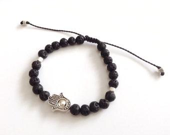 Hamsa men bracelet, men black bead bracelet, Hamsa Bracelet Black lava stone, lucky jewelry, mens jewelry, Black Lava Rock Bracelet, for him