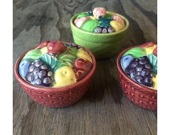 Flash sale - 1930s Serving Jars - Fruit Covered Lid - Set of 3 - Made in Japan