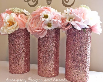 3 rose gold Glass Vase, Rose Gold Vases, Wedding Centerpieces, Gold Centerpieces, Rose Gold Wedding, Wedding, rose gold decoration, vases