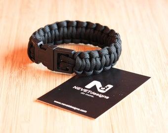 Black Paracord Bracelet - Survival | Nautical | EDC | Climbing | Rope | Mens | Fashion